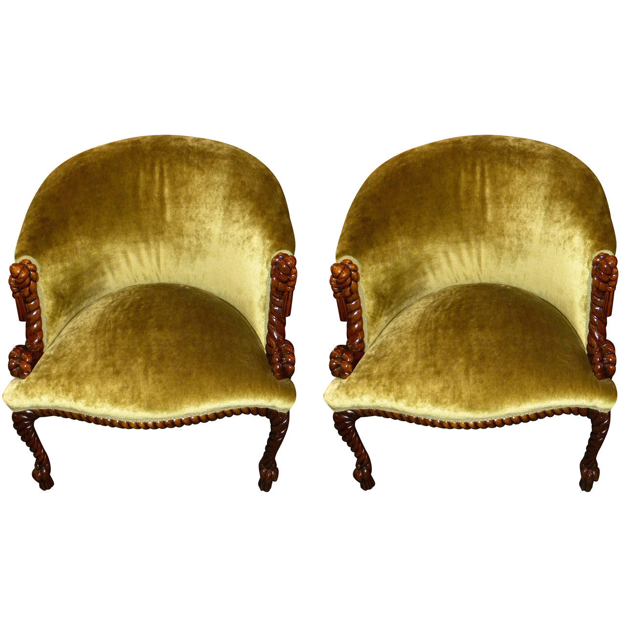 Art deco vintage leather sofa armchair - Unusual French Carved Wood Art Deco Armchairs