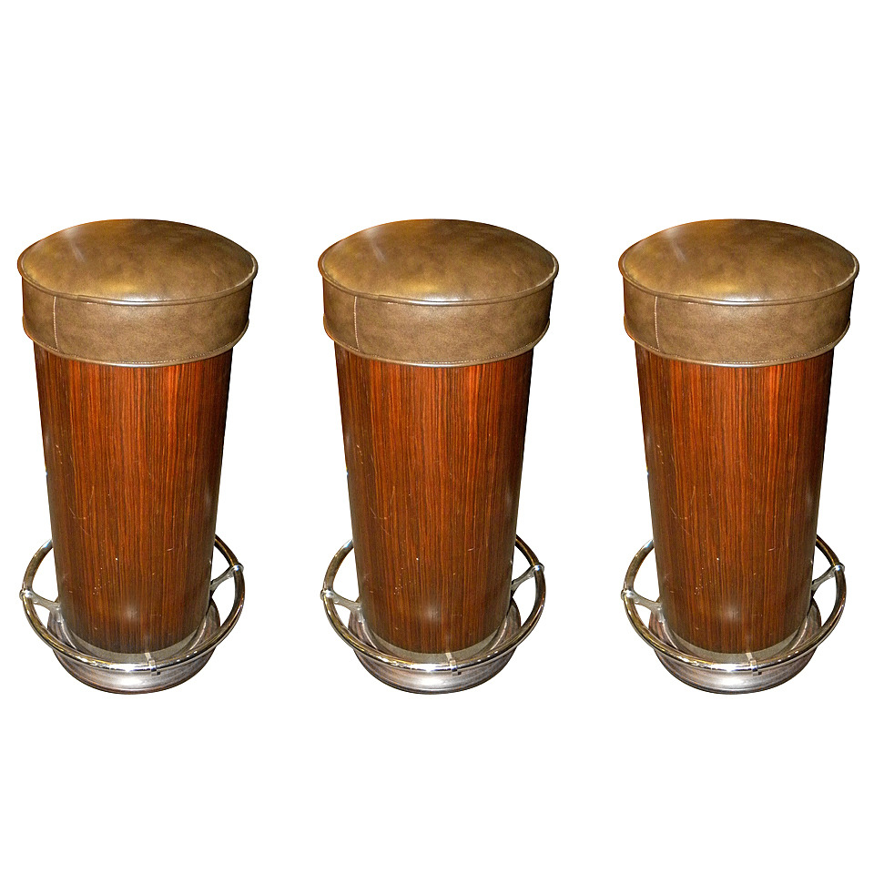 Three Art Deco Barrel Bar Stools with Chrome Footres