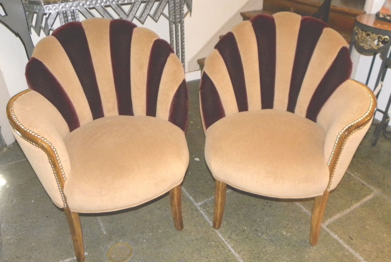High Style Art Deco Fan Backed Side Chairs Seating Items