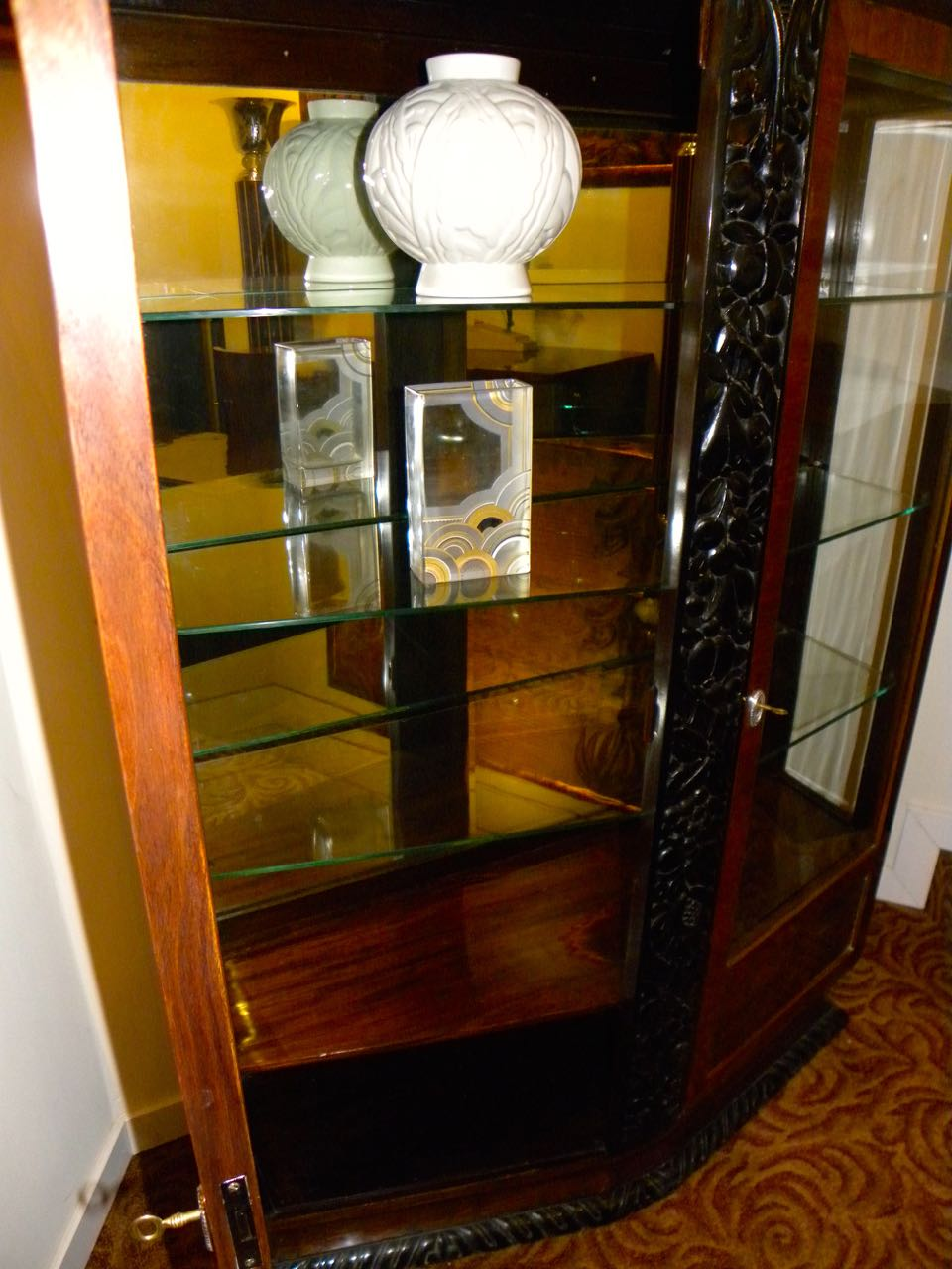 european art deco display cabinet vitrine sold items dining room art deco collection. Black Bedroom Furniture Sets. Home Design Ideas