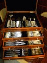 Classic Art Deco Complete Set of Silverware In fitted box multiple drawers