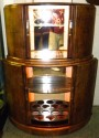 English Double Deck Demi-Lune Bar 1930's Cocktail with lights