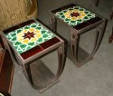 Vintage Art Deco Tile Occasional Tables Pair