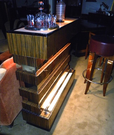 Unique Art Deco Stand Behind Lighted Bar Dining Room