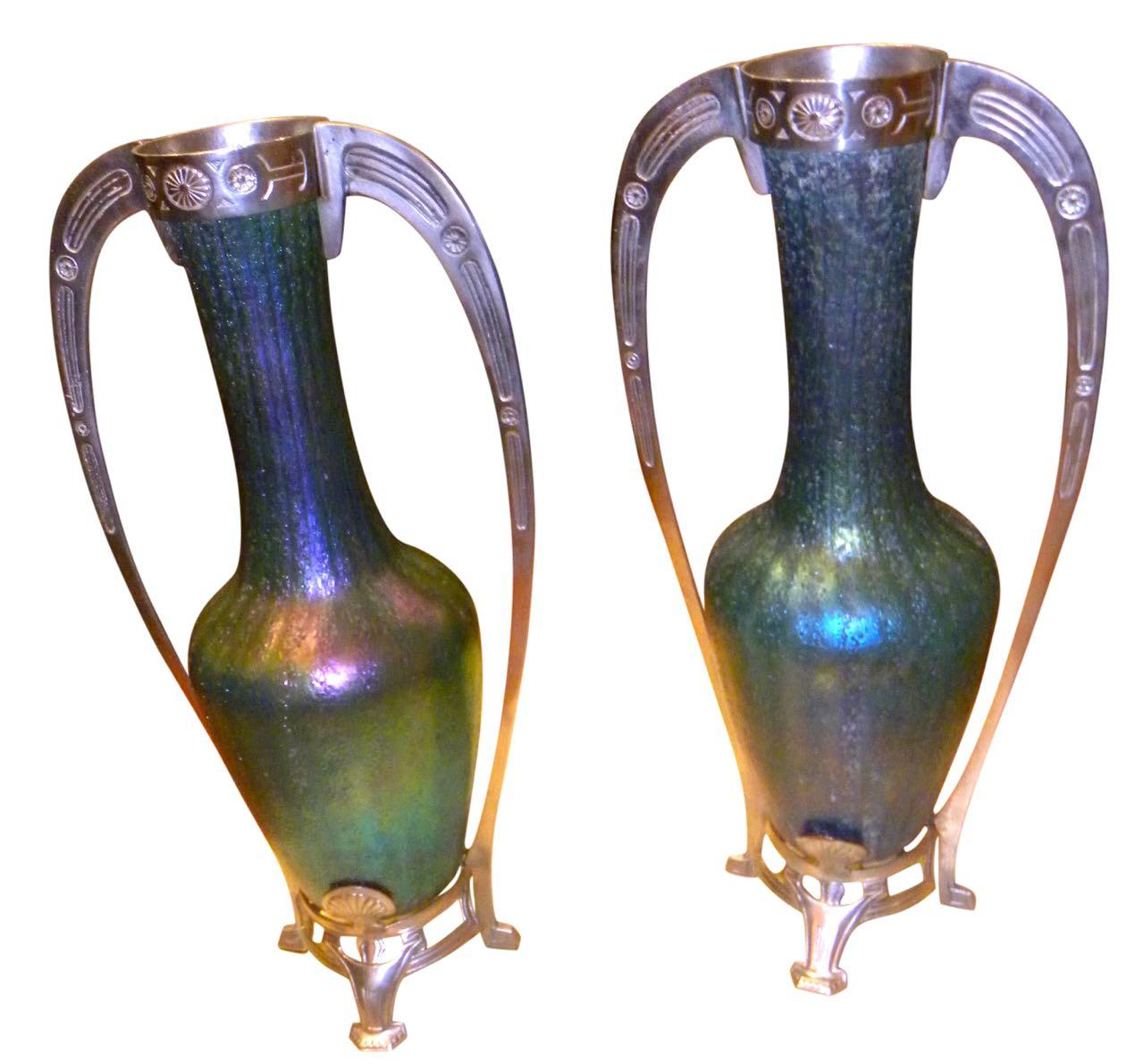 Art Nouveau Loetz Glass Vase with Metalwork