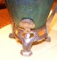 Art Nouveau Loetz Glass Vase with Metalworklo detail