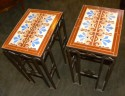 Custom Art Deco iron and tile end tables