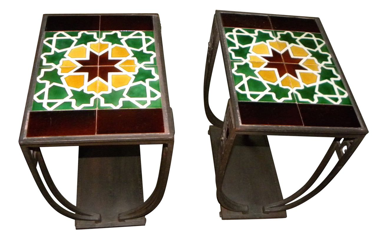 Vintage Art Deco Tile and Iron Occasional Tables