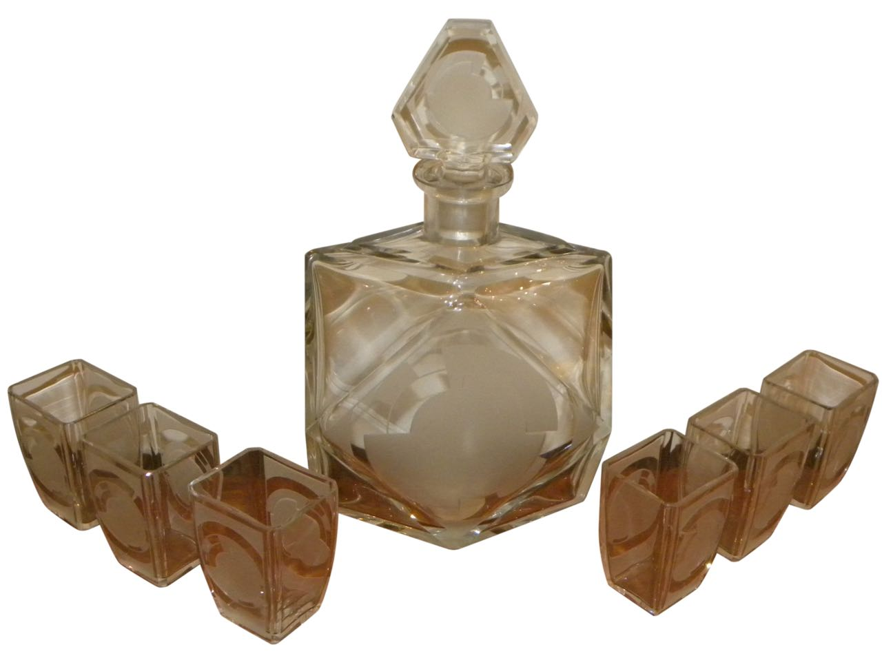 Baccarat Art Deco etched Decanter and 6 glasses