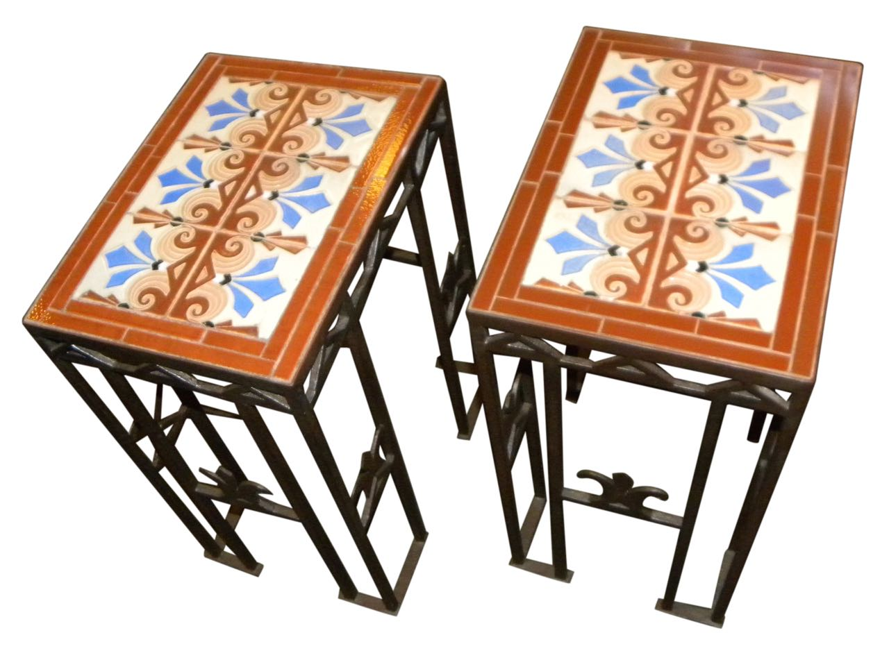 custom art deco iron and tile end tables art deco style furniture occasional coffee