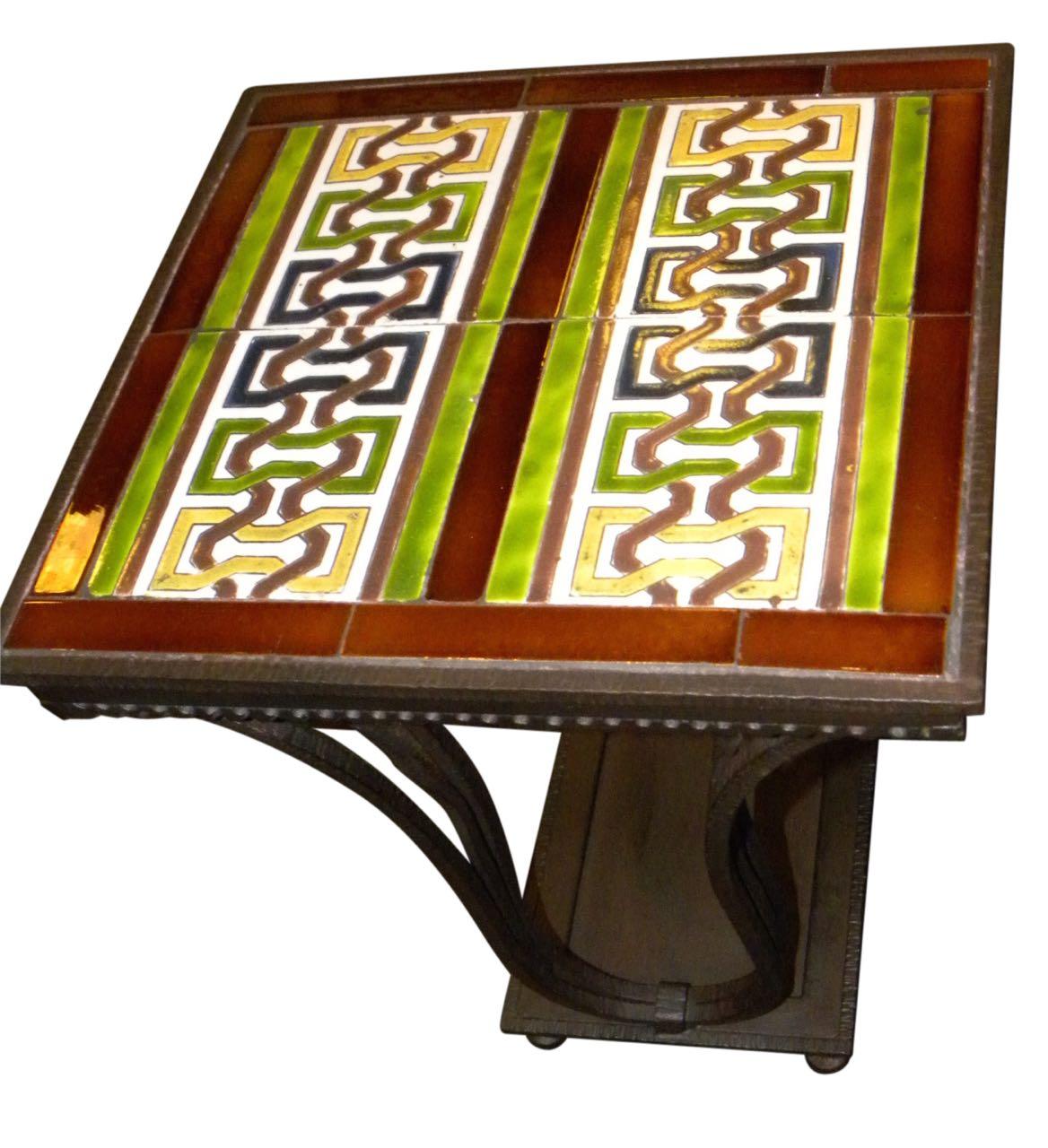 Custom Art Deco Iron and Tile End Table