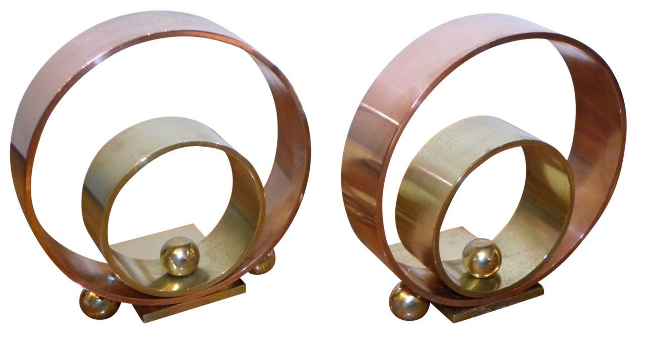 Rare Art Deco Modernism Chase Bronze Copper Bookends by Walter Von Nessen