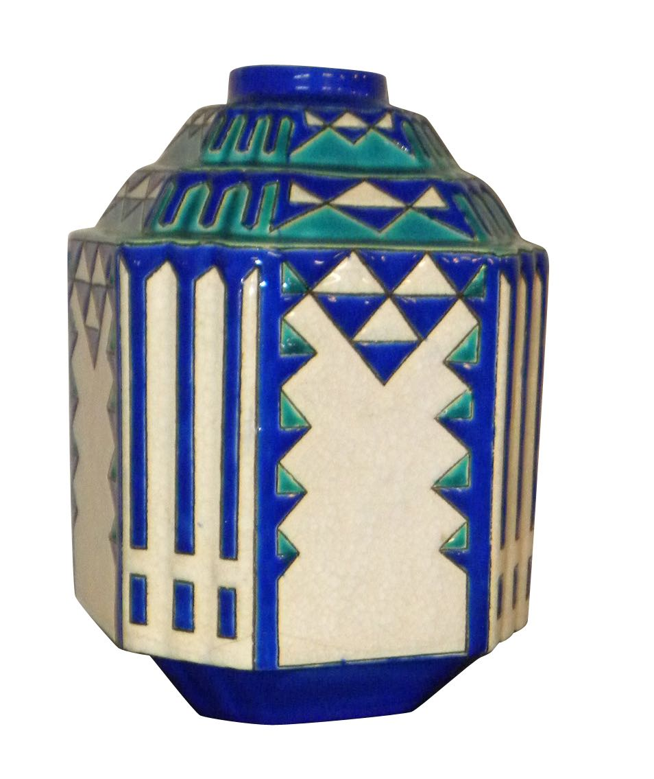 Ceramics and glass for sale boch freres ceramics art deco catteau boch geometric modernists boch frres pair vase floridaeventfo Image collections
