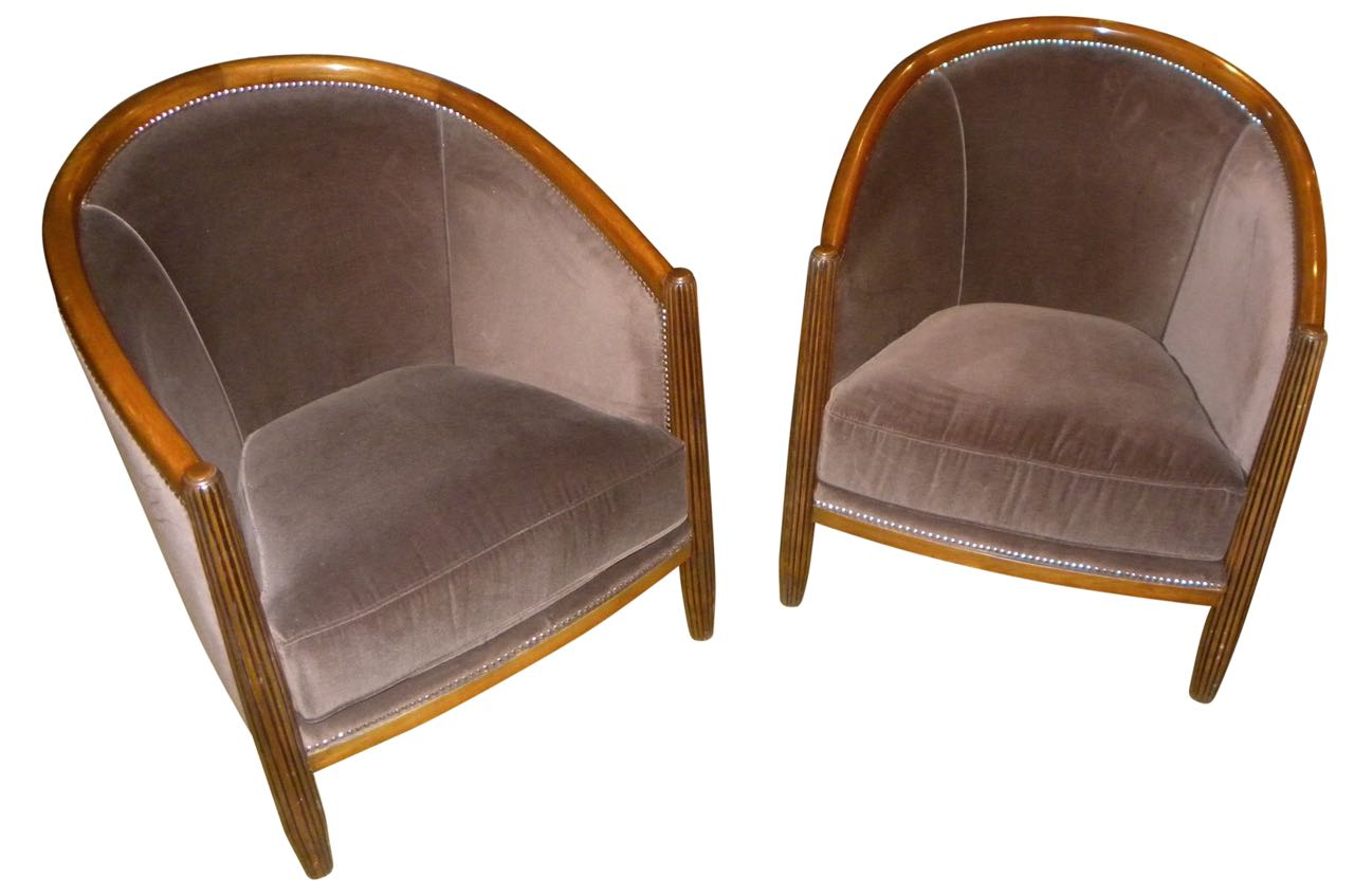 Art Deco Style Club Tub Chairs French Style Seating