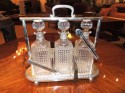 Crystal and Silver Art Deco 3 Piece Tantalus