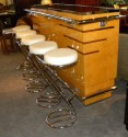 French Art Deco Glamour Bar and Bar Stools