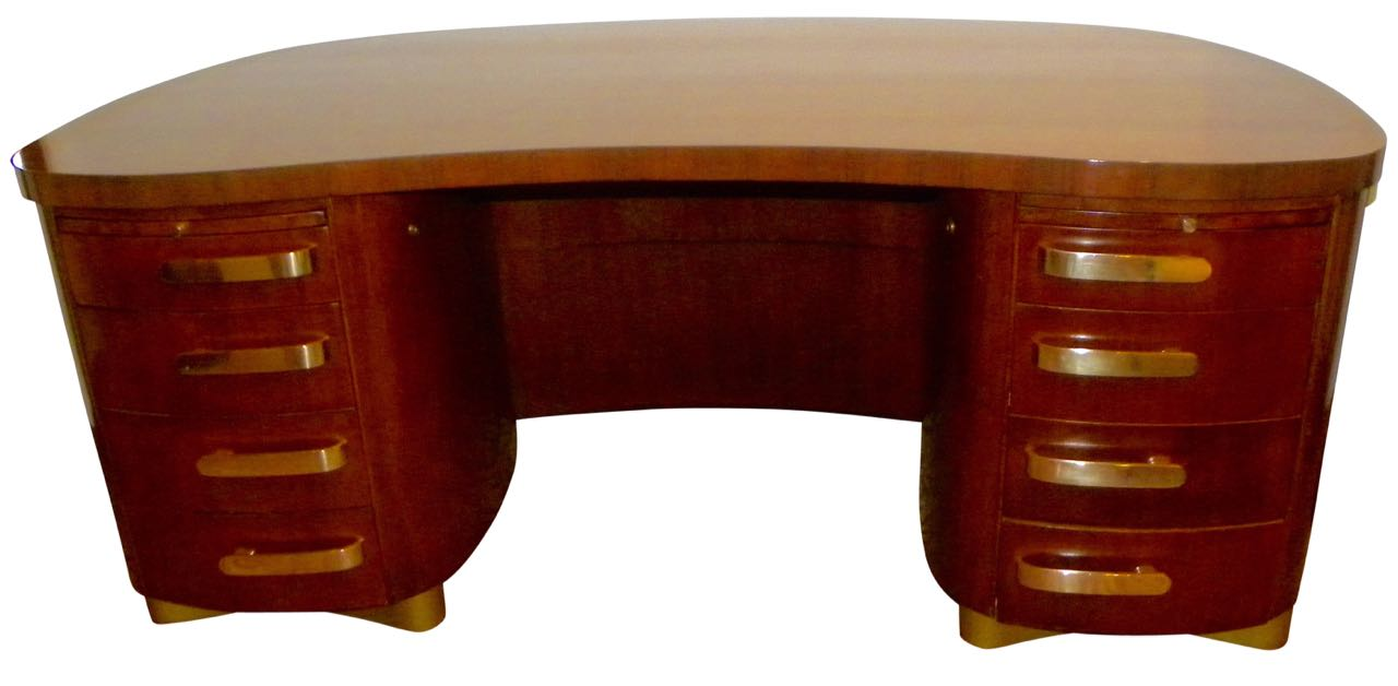 Professional Art Deco Desk by Stow & Davis, Pedestal base