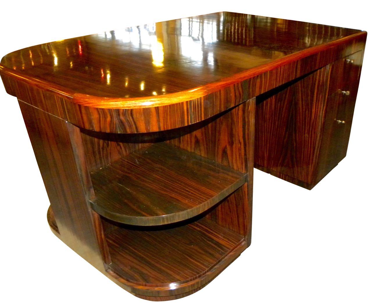 Art deco style furniture - Original French Macassar Art Deco Partners Desk