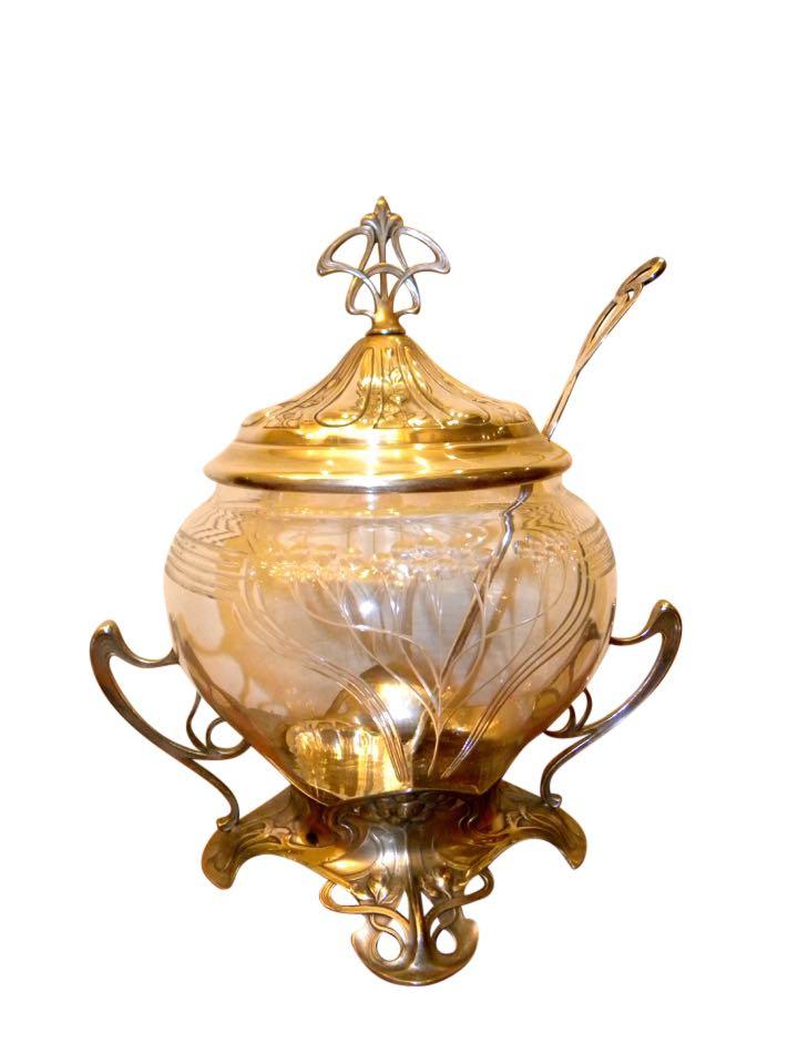 Art Nouveau WMF Silver and Glass Punch Bowl