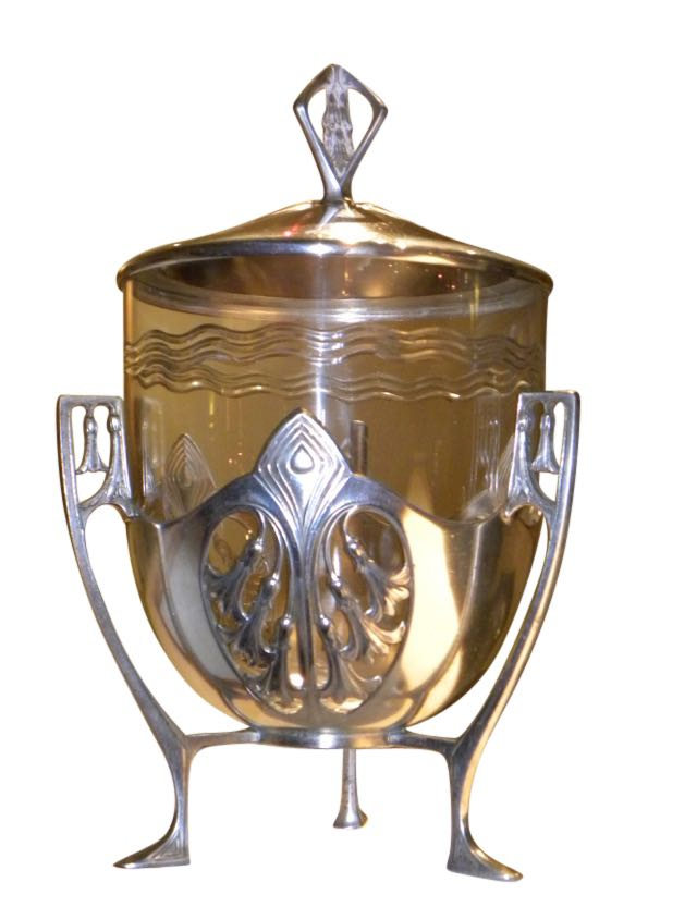 Art Nouveau Silver Topped Glass Urn