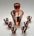 Czech Modernist Art Deco Decanter Liqueur Bottle and 6 Glasses Karl Palda