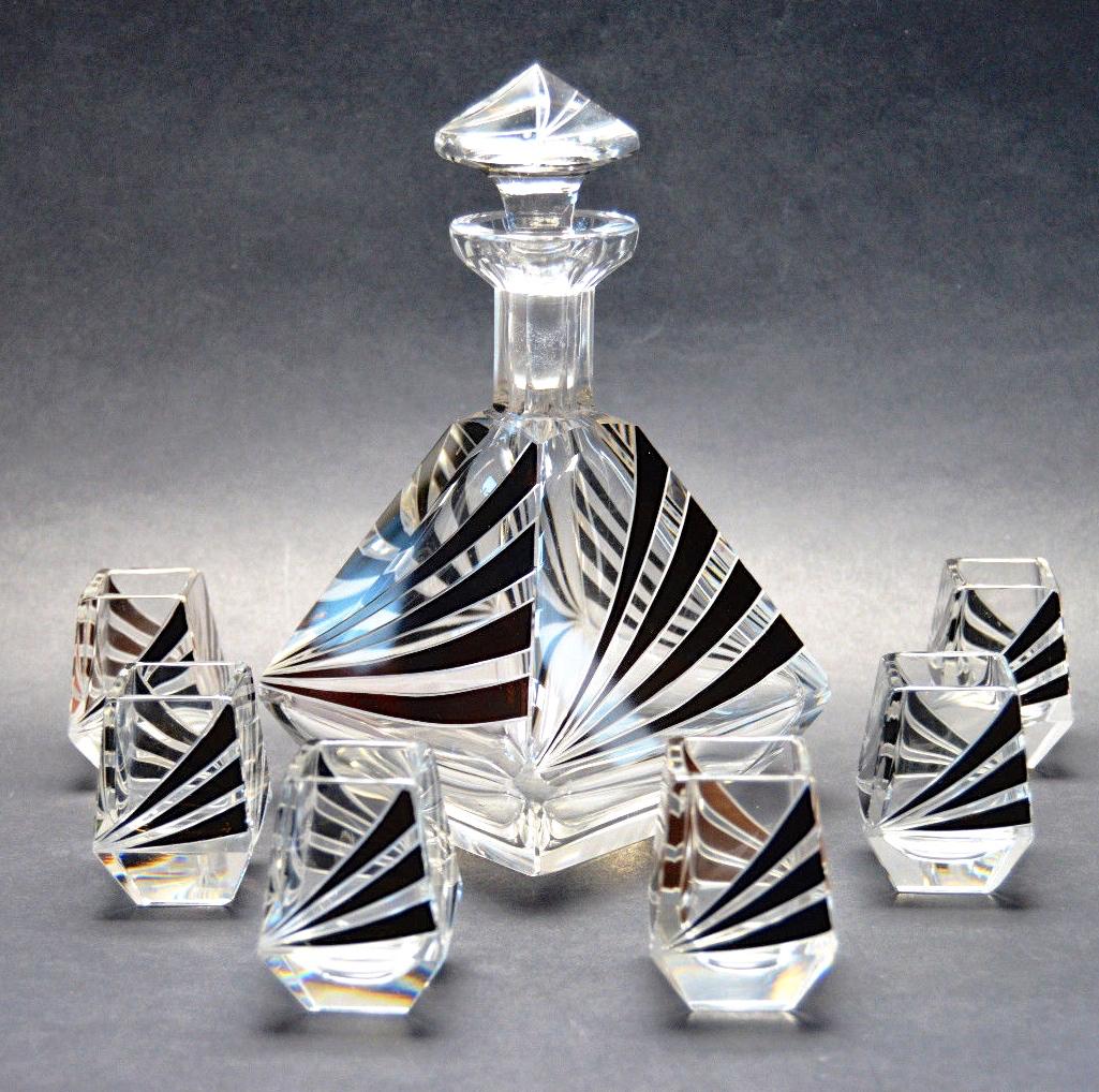 Czech Modernist Art Deco Decanter Liqueur Bottle 6 Glasses