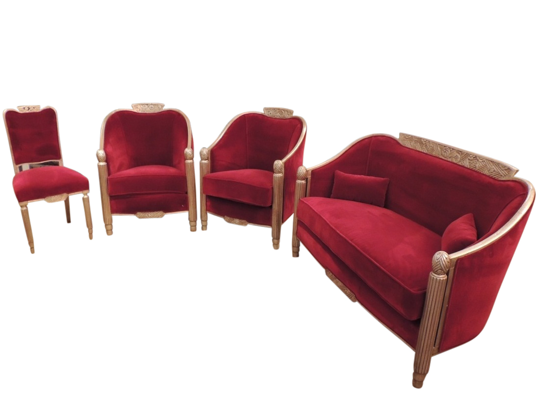 art deco furniture restoration. elegant french art deco settee and chairs by paul follot furniture restoration