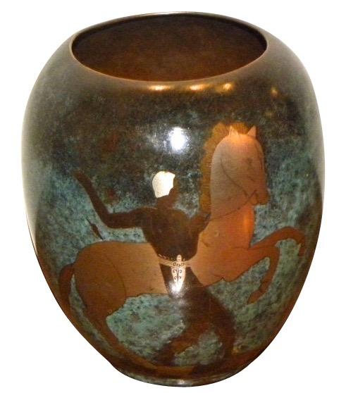 Ikora Dinanderie mixed metal Art Deco vase