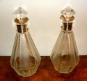 Pair French Art Etched Glass Decanters