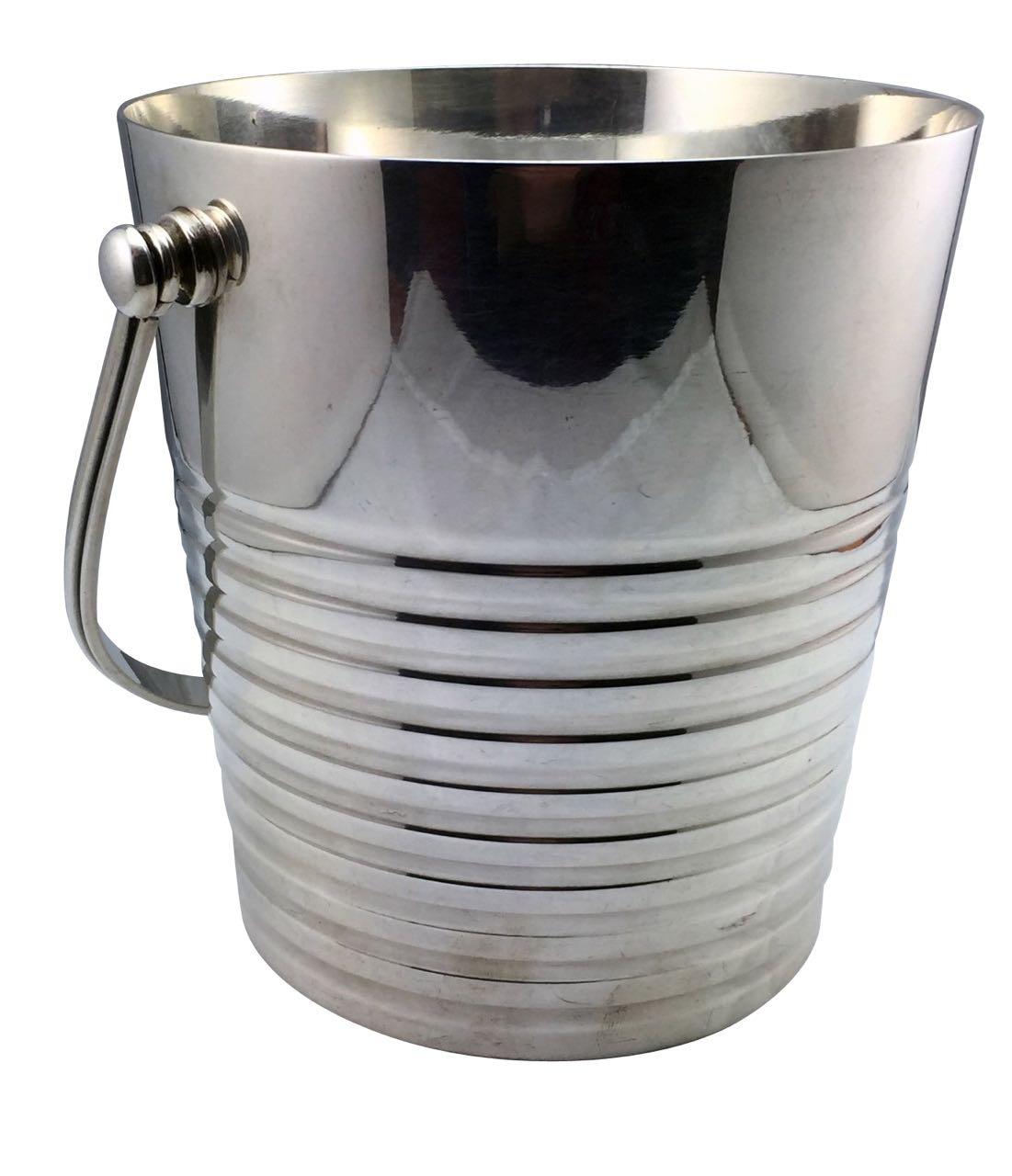 Christofle Luc Lanel Normandie Art Deco Ice Ondulations bucket