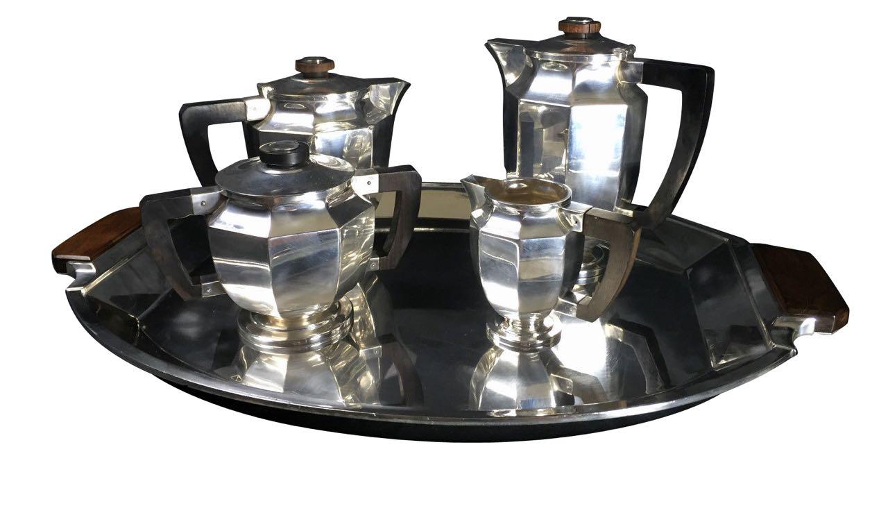 Christofle Gallia 5 piece Coffee Tea Service Luc Lanel 1930