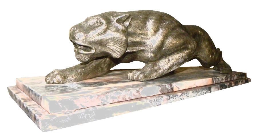 Art Deco Nickeled Bronze and Marble Tiger Statue