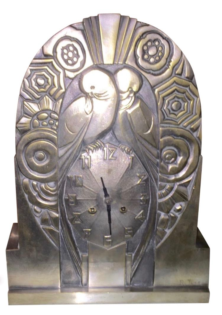 French Art Deco Clock Statue by R. Terras | Just Added | Art Deco ...