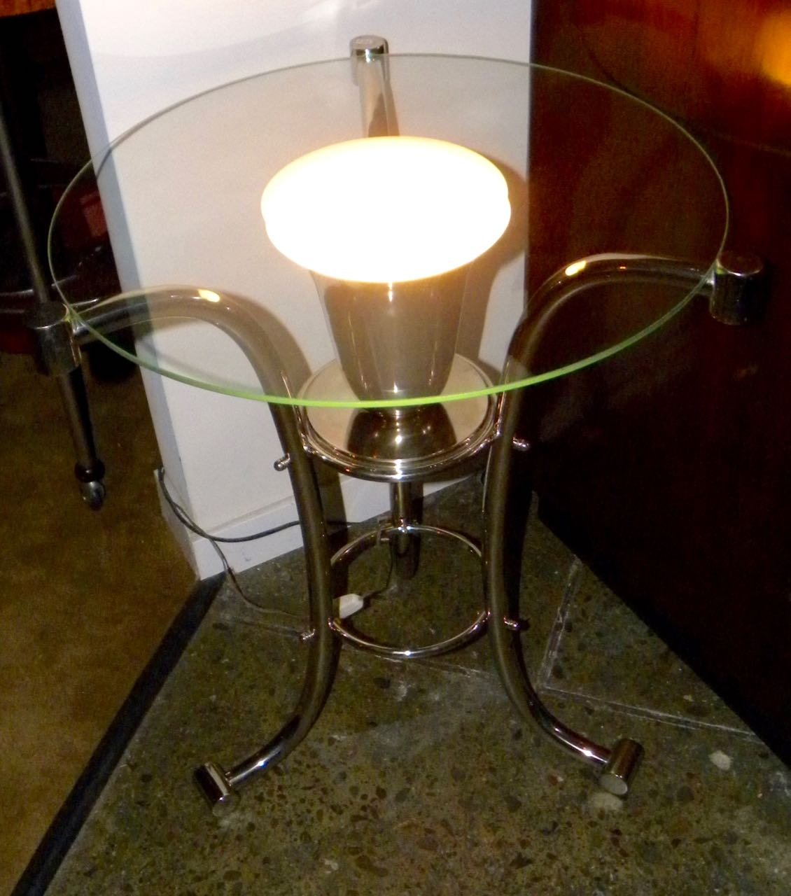 Art deco glass side table with uplight sold items small for Petite table deco