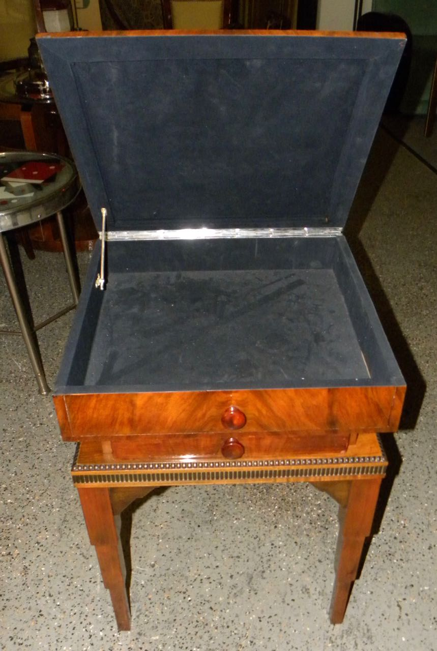 Art Deco Stepped Table With Storage And Drawer Dining