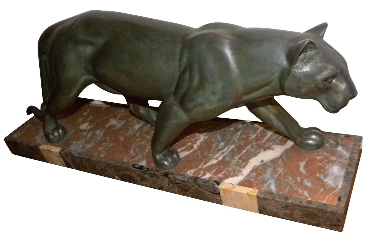 french art deco panther statue m leducq sold items statues art deco collection. Black Bedroom Furniture Sets. Home Design Ideas
