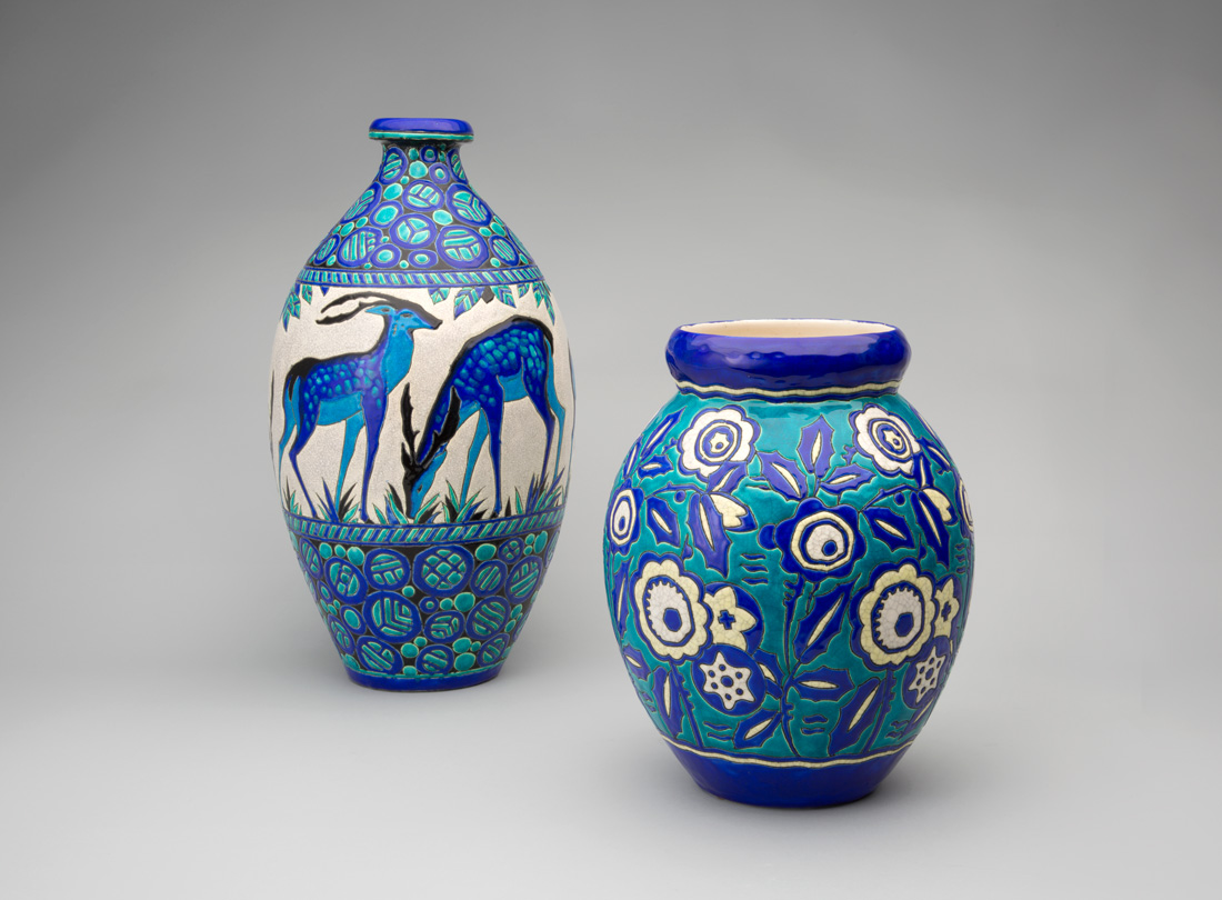 Catteau Ceramic Cloisonne Boch Vase Boch Freres Ceramics