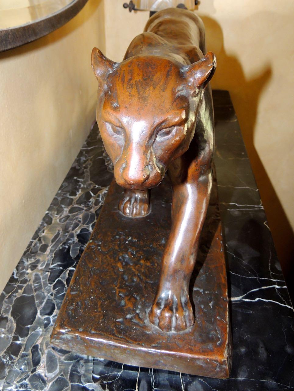 Art Deco Bronze Panther Statue By M Lebeau Statues Art