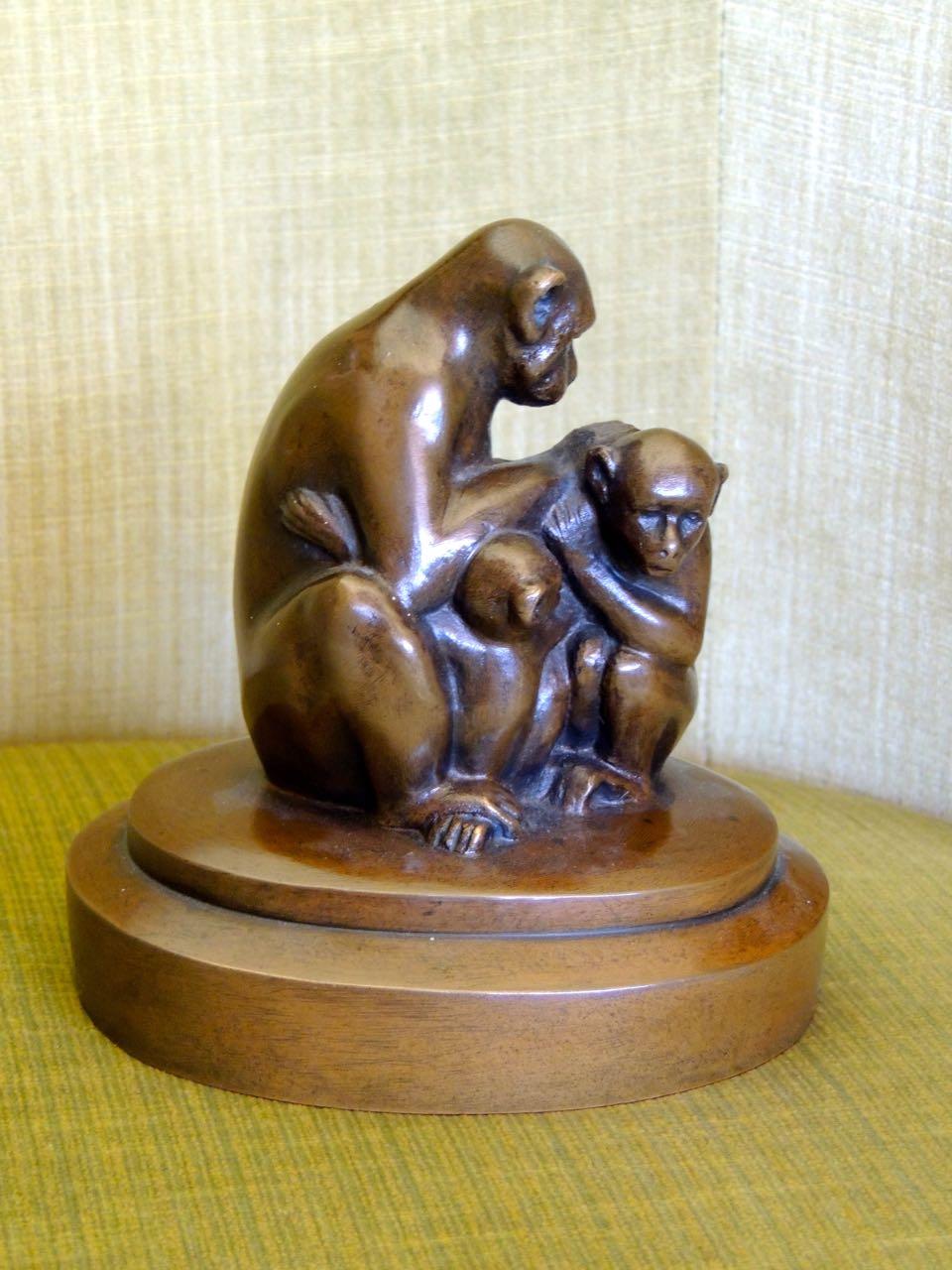 Bronze Monkey Sculpture Art Deco Statues Art Deco