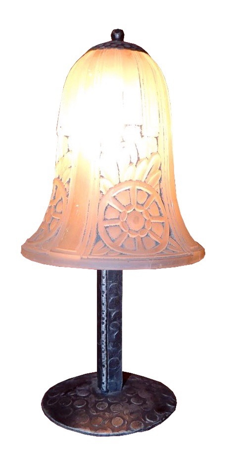 French Art Deco Pressed Glass Table Lamp