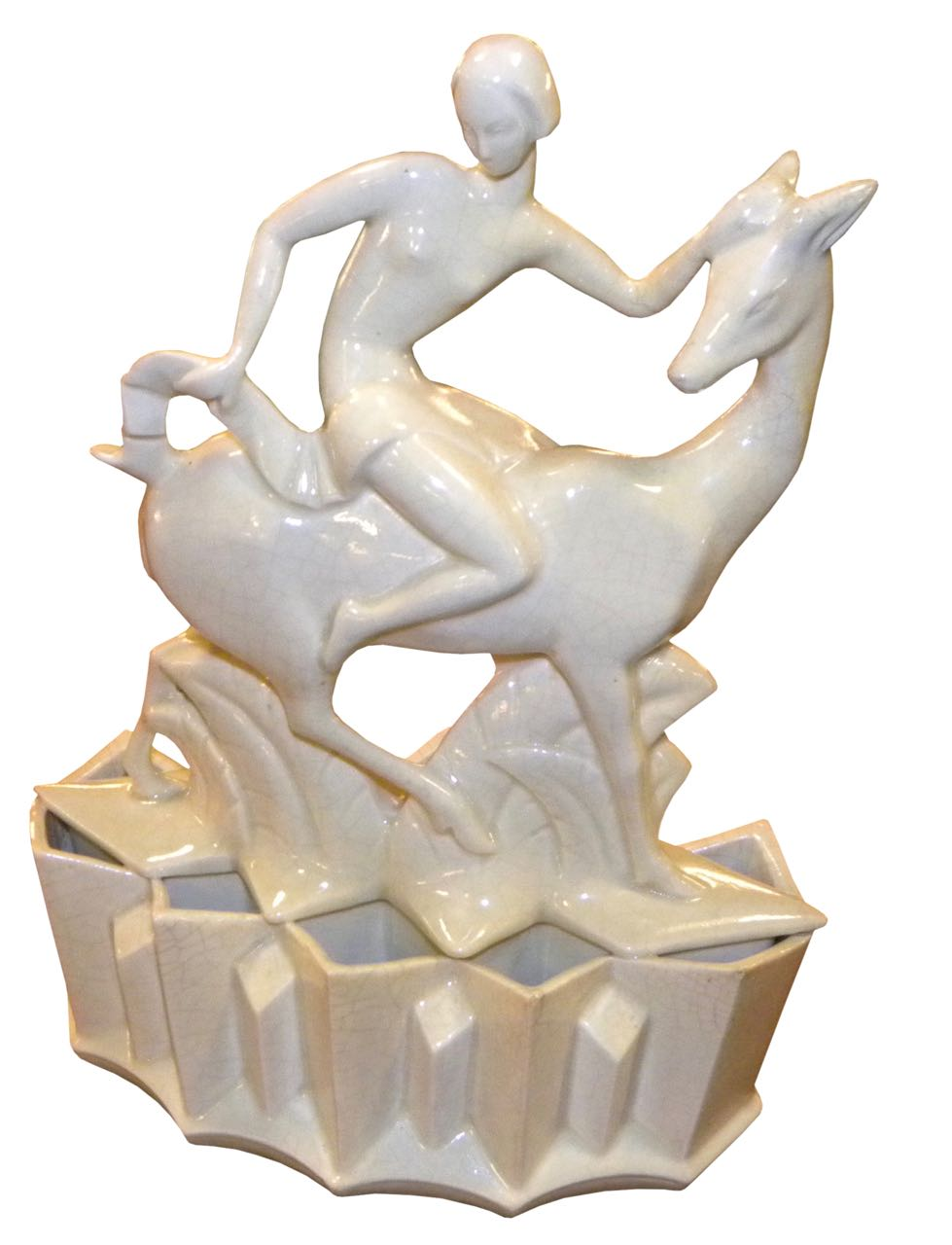 Crackle Glazed Ceramic Art Deco Woman on Antelope Cubist