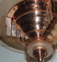 Petitot Art Deco Copper and Peach Glass Chandelier