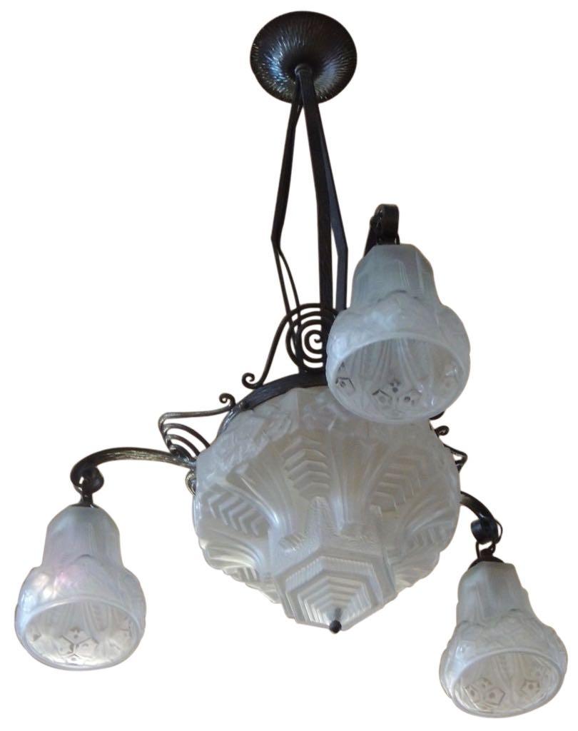 Art Nouveau into Art Deco Iron and Pressed Glass Chandelier