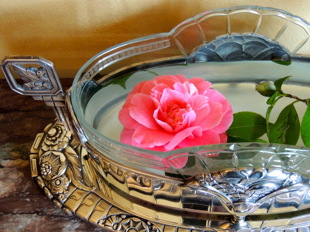 French art deco silver centerpiece and mirrored tray