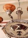 Alabaster and Nickel Art Deco Chandelier