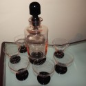 Rose and Black Glass Decanter