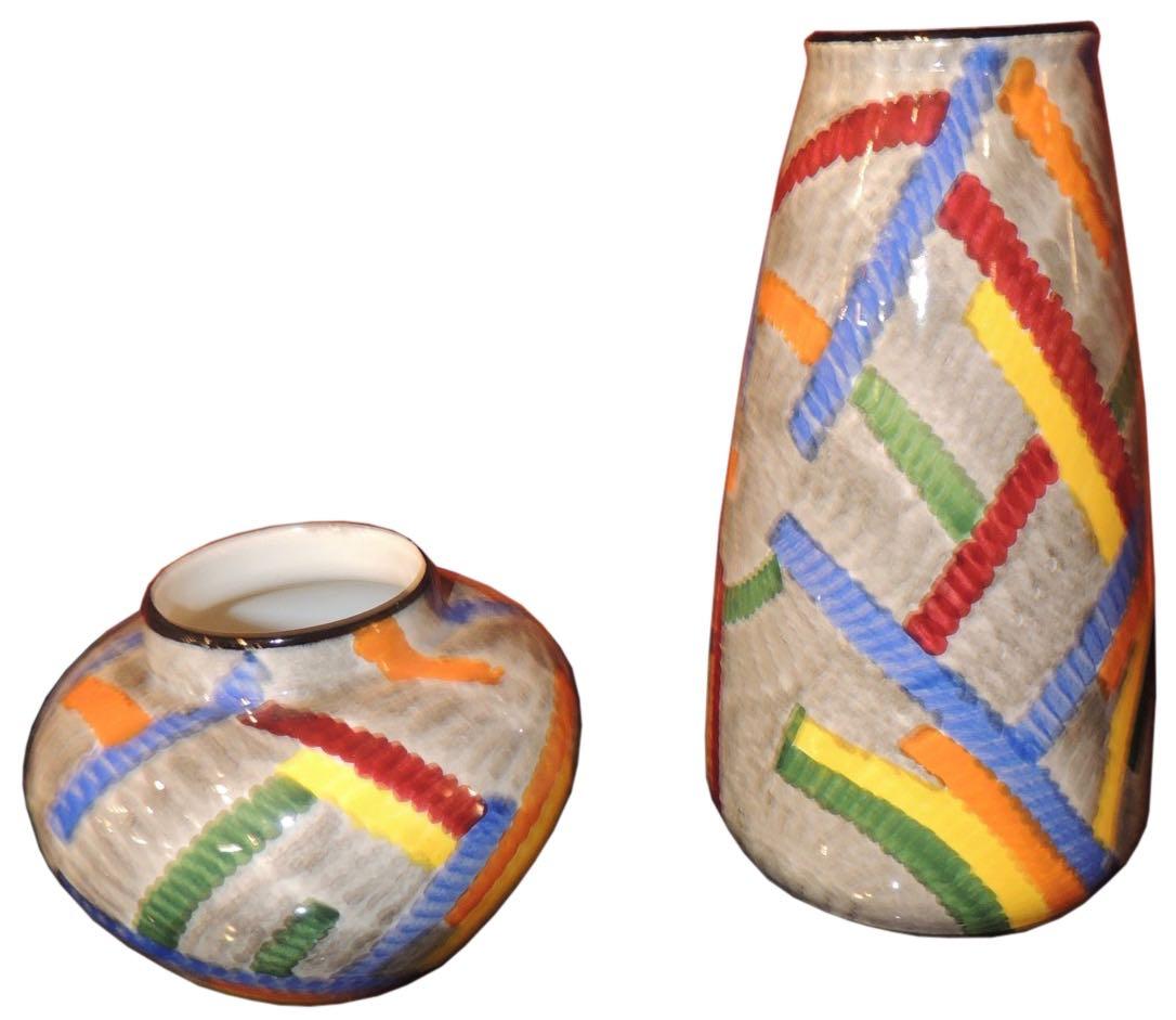 Pair of Art Deco Ceramic Vases by Eva Zeisel