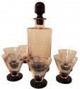 Rose and Black  Art Deco Etched Glass Decanter, Glasses