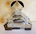 Art Deco Czech Decanter with Leopard and Black Designs