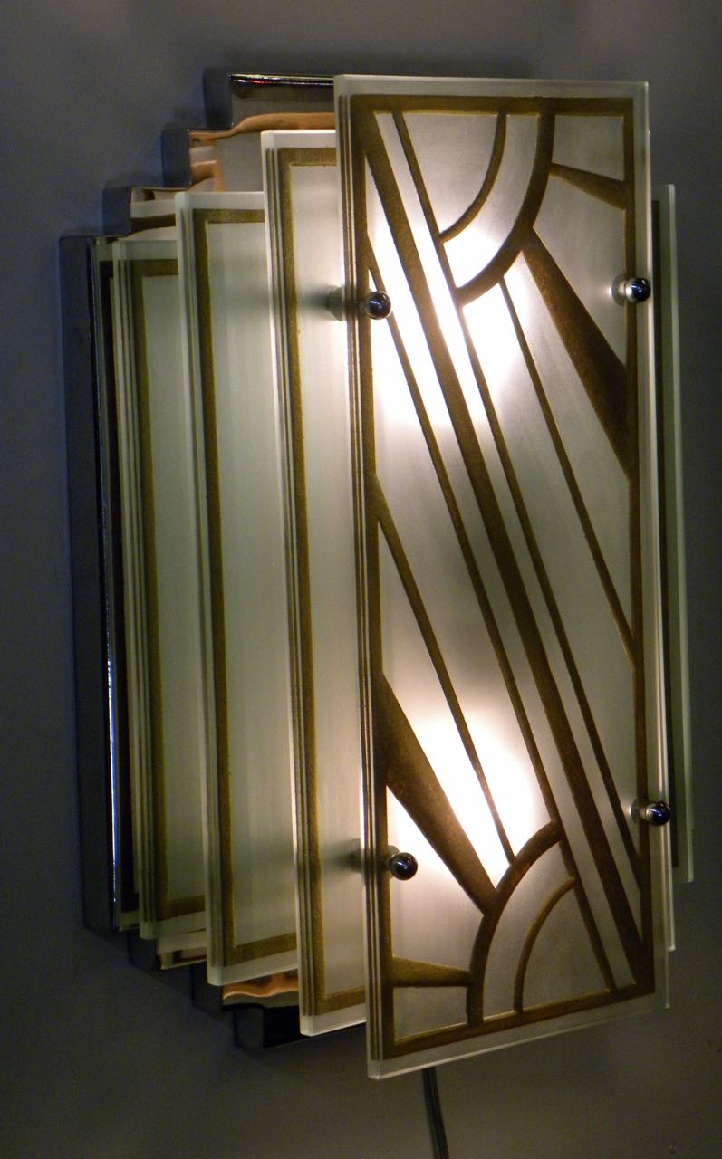 Custom Etched Glass Gold Stepped Modernist Art Deco Light Chandeliers Collection